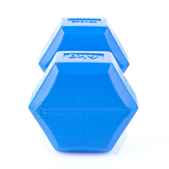 Spokey Spokey MONSTER II Hexagonal Dumbbell Set, 2x4 kg, Blue, PVC coated cement