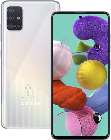 "Samsung Samsung Galaxy A51 Silver, 6.5 "", Super AMOLED, 1080 x 2400, Exynos, 9611, Internal RAM 4 GB, 128 GB, microSD, Dual SIM, Nano-SIM, 3G, 4G, Main camera 48+12+5+5 MP, Secondary camera 32 MP, Android, 10.0, 4000 mAh"
