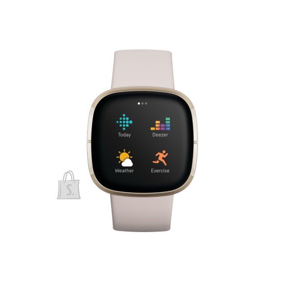 Fitbit Fitbit Sense Smart watch, GPS (satellite), AMOLED, Touchscreen, Heart rate monitor, Activity monitoring 24/7, Waterproof, Bluetooth, Wi-Fi, Lunar White/Soft Gold Stainless Steel
