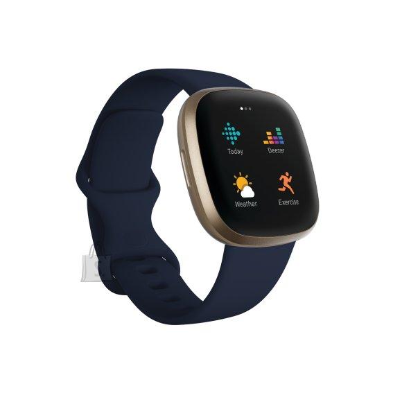 Fitbit Fitbit Versa 3 Smart watch, GPS (satellite), AMOLED, Touchscreen, Heart rate monitor, Activity monitoring 24/7, Waterproof, Bluetooth, Wi-Fi, Midnight/Soft Gold Aluminum