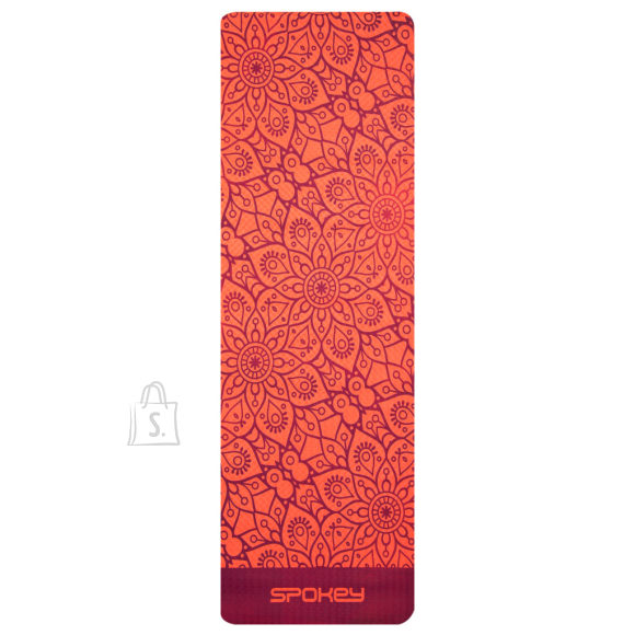 Spokey Spokey MANDALA Yoga Mat, Antiallergic and non-slip; Easy to roll up, Red, TPE