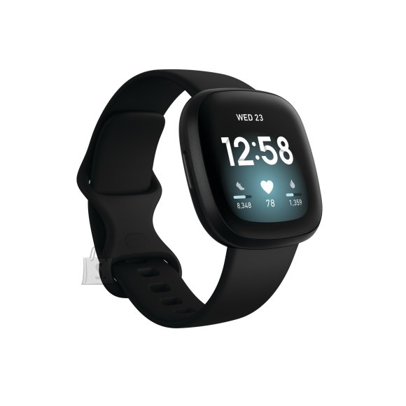 Fitbit Fitbit Versa 3 Smart watch, GPS (satellite), AMOLED, Touchscreen, Heart rate monitor, Activity monitoring 24/7, Waterproof, Bluetooth, Wi-Fi, Black/Black Aluminum