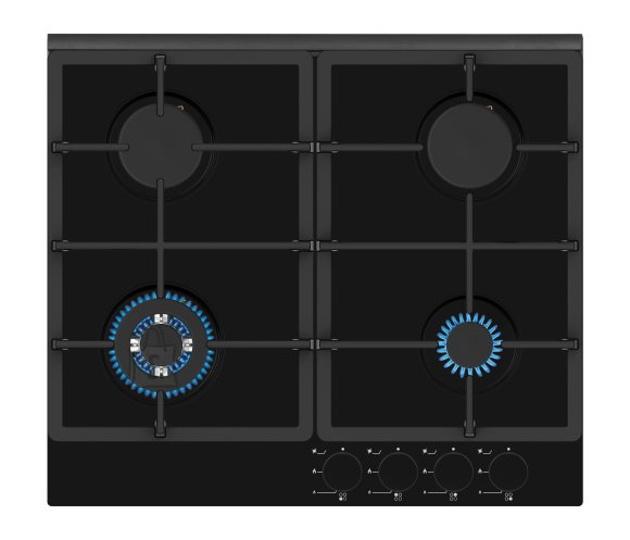 Simfer Simfer Hob H6 401 TGRSP Built-In Gas Hob, Number of burners/cooking zones 3 + 1 Wok Burner, Mechanical, Black