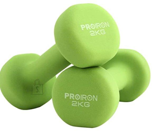 PROIRON PRKNED02K Dumbbells, 2 pcs, 2 kg, Green, Neoprene