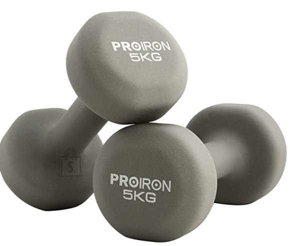 PROIRON PRKNED05K Dumbbell Weight Set, 2 pcs, 5 kg, Grey, Neoprene