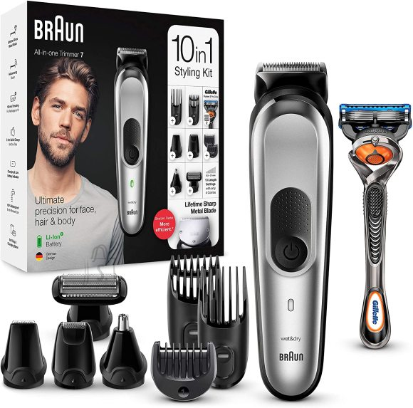 Braun Braun Trimmer 10-in-1 MGK7220 Cordless, Number of length steps 13, Black/Silver