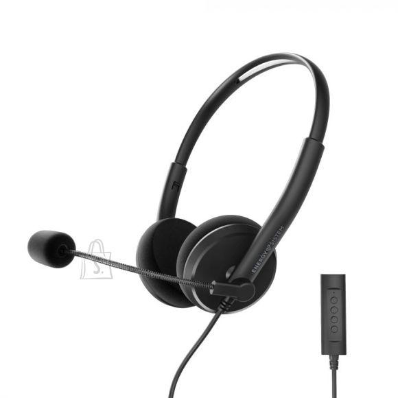 Energy Sistem Energy Sistem Headset Office 2+ Black, USB and 3.5 mm plug, volume control, retractable boom mic.