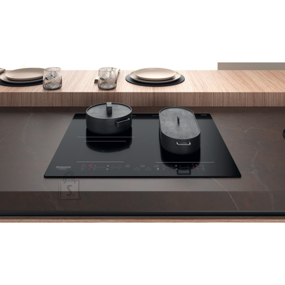 Hotpoint HB 4860B NE Induction, Number of burners/cooking zones 4, Touch control, Timer, Black