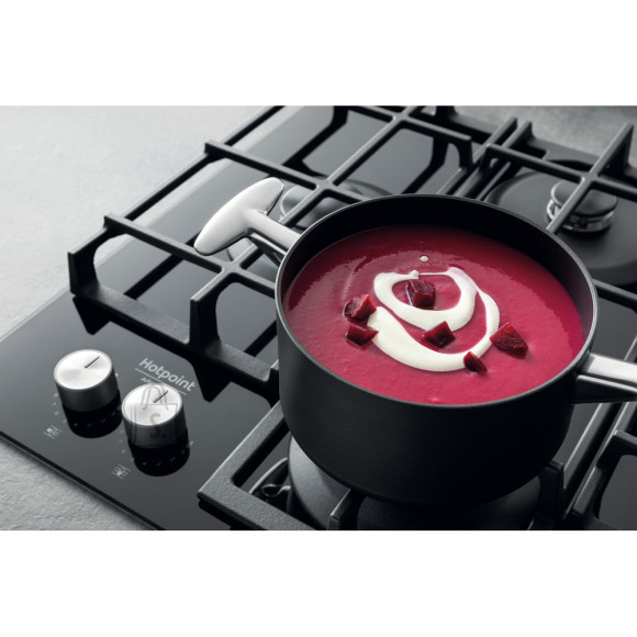 Hotpoint Hob HAGS 61F/BK Built-In Gas Hob, Number of burners/cooking zones 4, Mechanical, Black