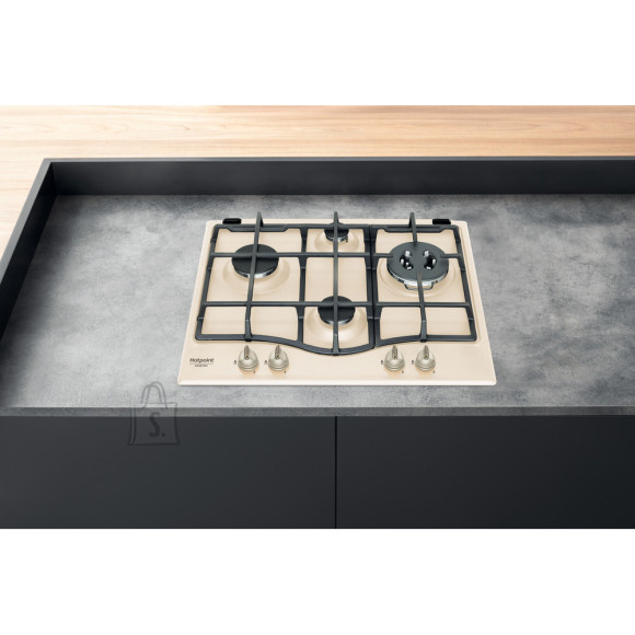 Hotpoint Hob HAGS 61F/BK Built-In Gas Hob, Number of burners/cooking zones 4, Mechanical, Old white