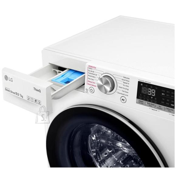 LG LG Washing Machine With Dryer F4DV710S1E A, Front loading, Washing capacity 10.5 kg, 1400 RPM, Depth 56 cm, Width 60 cm, Display, LED, Drying system, Drying capacity 7 kg, Steam function, Direct drive, Wi-Fi, White