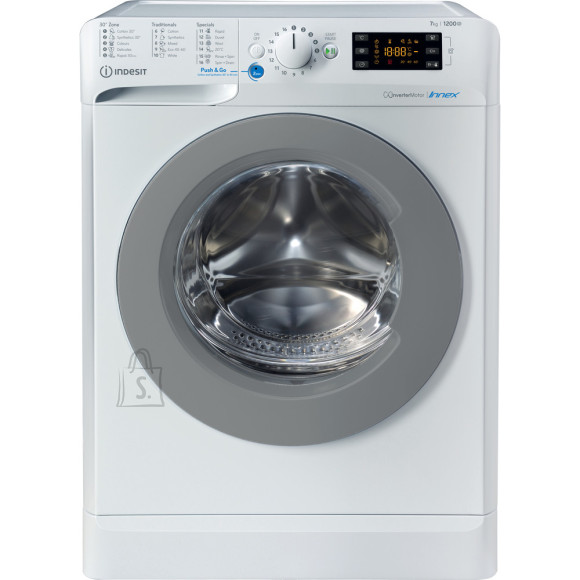Indesit INDESIT Washing machine BWE 71283X WS EE N Energy efficiency class D, Front loading, Washing capacity 7 kg, 1200 RPM, Depth 57.5 cm, Width 59.5 cm, Display, Large digit, White