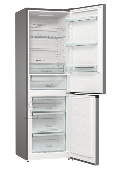 Gorenje Gorenje Refrigerator NRK6192AXL4 Energy efficiency class E, Free standing, Combi, Height 185 cm, No Frost system, Fridge net capacity 204 L, Freezer net capacity 96 L, Display, 38 dB, Metalic Grey