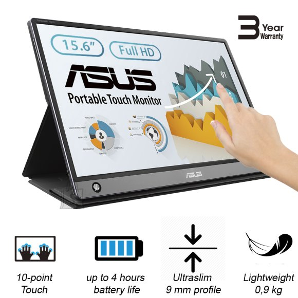 "Asus Asus MB16AMT 15.6 "", Touchscreen, IPS, FHD, 16:9, 5 ms, 250 cd/m?, Dark gray, HDMI ports quantity 1"