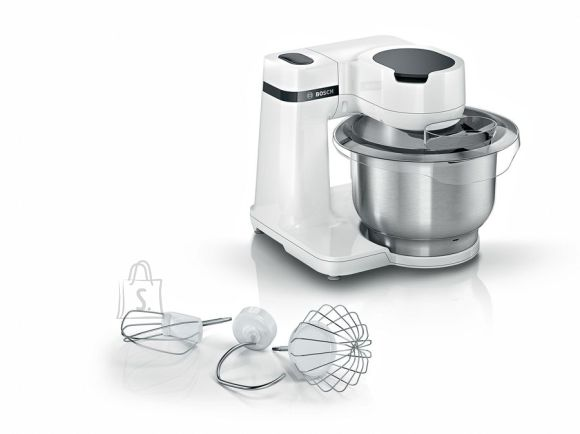 Bosch <br /><br /> Producer product name: <strong>MUMS2EW00</strong><br /><br /> Producer product family: <strong>MUM Serie Kitchen Machine</strong><br /><br /> <br /><br /> <strong>V?IMSUS</strong><br /><br /> V?imsus: <strong>700 W</strong><br /><br /> <br /><br /> <strong>TOIMIMINE</strong><br /><br /> Kannu mahutavus: <strong>3.8 L</strong><br /><br /> J??purustamine: <strong>Ei</strong><br /><br /> Kiiruste arv: <strong>4</strong><br /><br /> Impulssfunktsioon: <strong>Ei</strong><br /><br /> Muudetav kiirus: <strong>Jah</strong><br /><br /> <br /><br /> <strong>DISAIN</strong><br /><br /> Toote v?rv: <strong>White</strong><br /><br /> Libisemiskindel alus: <strong>Jah</strong><br /><br /> <br /><br /> <strong>TEHNILISED ANDMED</strong><br /><br /> Hakklihamasin: <strong>Ei</strong><br /><br /> Mikser: <strong>Ei</strong><br /><br /> Muud funktsioonid: <strong>3D PlanetaryMixing: kneading movement like your hands for a perfect dough.</strong><br /><br /> <br /><br /> <strong>FUNKTSIOONID</strong><br /><br /> N?udepesumasinakindlad osad: <strong>Jah</strong><br /><br /> Juhtmehoidik: <strong>Jah</strong><br /><br /> Materjal: <strong>Stainless Steel/Plastic</strong><br /><br /> Lihtne puhastada: <strong>Jah</strong><br /><br /> <br /><br /> <strong>PAKENDI SISU</strong><br /><br /> Tarvikud kaasa arvatud: <strong>Stainless steel dough hook, beater and whisking attachment, transparent lid with filler hole </strong><br /><br /> Toote kaal: <strong>4.35 Kg</strong><br />