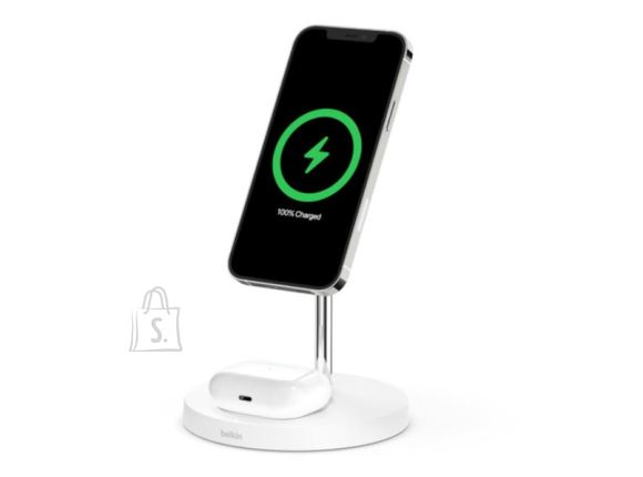 Belkin <br /><br /> Producer product name: <strong> BOOST CHARGE</strong><br /><br /> Producer product family: <strong>Pro MagSafe 2in1 Wireless Charging Stand + AC Power Adapter</strong><br /><br /> <br /><br /> <strong>FUNKTSIOONID</strong><br /><br /> Toote v?rv: <strong>White</strong><br /><br /> ?hilduvus: <strong>iPhone 12 Pro Max / 12 Pro / 12 / 12 mini / AirPods Pro / 2nd Gen</strong><br /><br /> <br /><br /> <strong>TEHNILISED ANDMED</strong><br /><br /> Muud funktsioonid: <strong>Case compatible up to 3mm; Qi certified to ensure safe charging; LED light indicates proper charging; Non-slip grip material keeps phone in place; 24W Quick Charge 3.0 power supply included</strong><br /><br /> <br /><br /> <strong>V?IMSUS</strong><br /><br /> V?imsus: <strong>15 W</strong><br /><br /> <br /><br /> <strong>VIIDE</strong><br /><br /> Laadimisindikaator: <strong>Jah</strong><br /><br /> Toote kaal: <strong>0.54 Kg</strong><br />