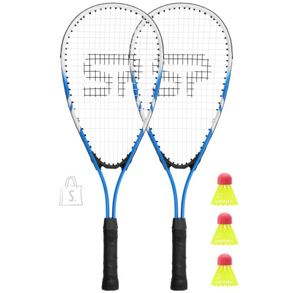 Spokey <br /><br /> Producer product name: <strong>BUGY Speed badminton set</strong><br /><br /> <br /><br /> <strong>DISAIN</strong><br /><br /> Toote v?rv: <strong>Blue/Black</strong><br /><br /> Materjal: <strong>Aluminum, PCV</strong><br /><br /> <br /><br /> <strong>FUNKTSIOONID</strong><br /><br /> Maksimaalne kiirus (edaspidi): <strong>null km/h</strong><br /><br /> Sobilik: <strong>Recreational games</strong><br /><br /> <br /><br /> <strong>TEHNILISED ANDMED</strong><br /><br /> Muud funktsioonid: <strong>Consists of two aluminum rackets with strong string designed for fast play, 3 shuttlecocks and a cover with a shoulder strap, enables a dynamic and precise game of crossminton, was created for the unique racket sport that combines the best of tennis, badminton and squash</strong><br /><br /> Flywheel weight: <strong>null kg</strong><br /><br /> <br /><br /> <strong>MUUD FUNKTSIOONID</strong><br /><br /> Kaal: <strong>null kg</strong><br /><br /> <br /><br /> <strong>KAAL JA M??TMED</strong><br /><br /> Pikkus: <strong>600 mm</strong><br /><br /> Toote kaal: <strong>0.08 Kg</strong><br />