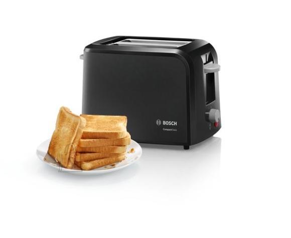 Bosch Bosch CompactClass Toaster TAT3A013 Power 980 W, Number of slots 2, Housing material Plastic, Black/Light gray