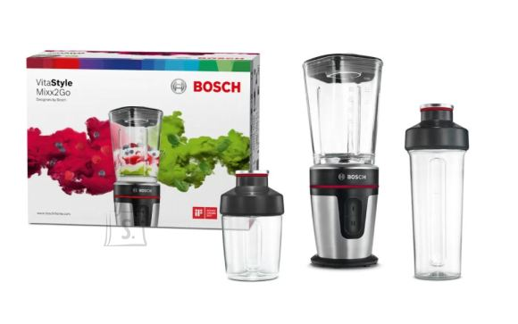 Bosch Bosch VitaStyle MixxGo Blender MMBM7G3M Tabletop, 350 W, Jar material Glass, Jar capacity 0.6 L, Ice crushing, Black/Sainless steel