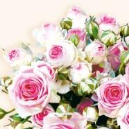 Salvrätikud roosade roosidega