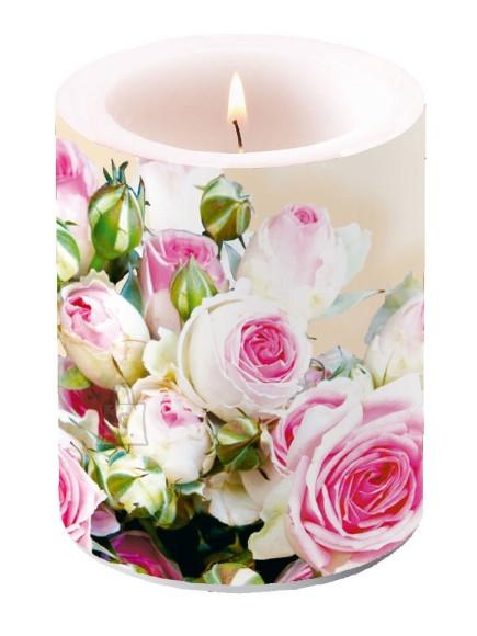 Küünal roosade roosidega