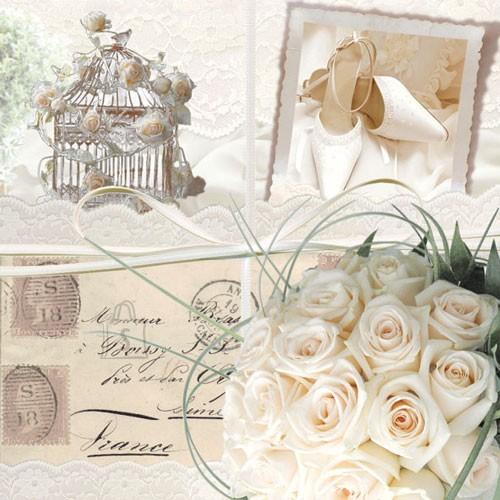 Salvrätikud valgete roosidega