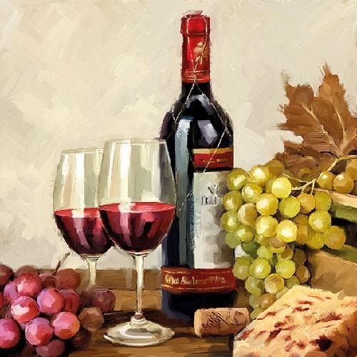 Salvrätikud viinamarjade ja veiniga