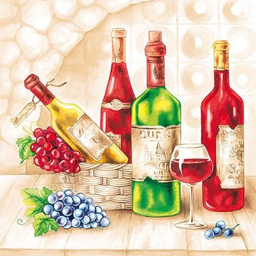Salvrätikud veinipudelitega