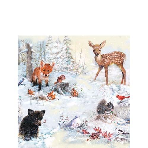 Salvrätikud loomadega lumises metsas