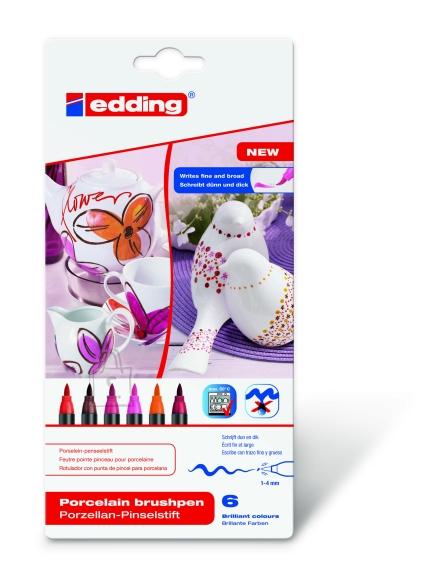 edding pintsel-pliiats portselanile komplekt 6 värvi (soojad)