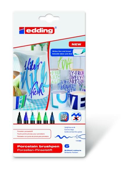 edding pintsel-pliiats portselanile komplekt 6 värvi (külmad)