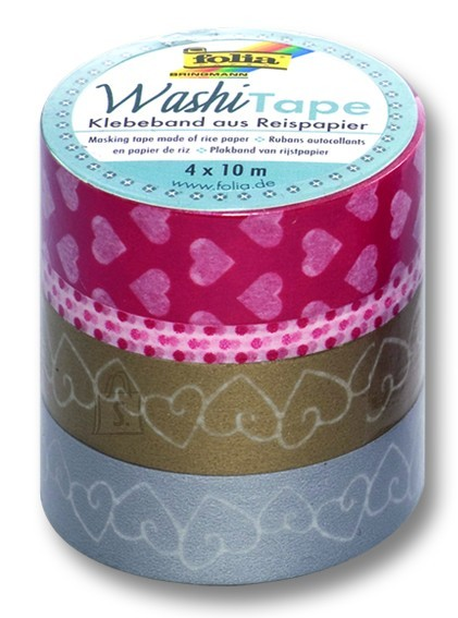 Folia Washi-Tape  Armastus 4rulli 15mm x 10m komplektis