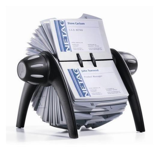 Durable visiitkaardikartoteek Visifix FLIP 400-le kaardile must/hõbe