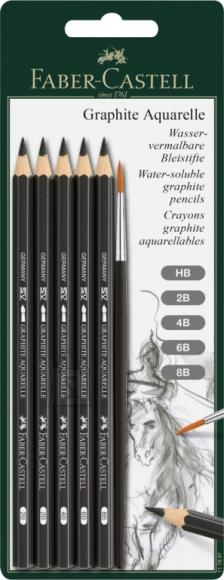 Faber-Castell Akvarell-kunstipliiatsid Faber-Castell Aquarelle 5tk/pk + pintsel