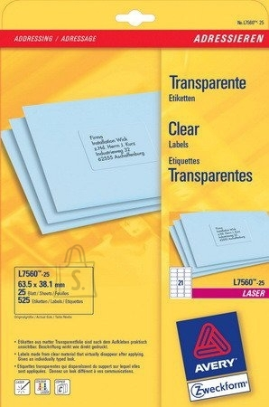 Avery Zweckform Etiketid Zweckform L7560-25 63,5x38,1mm A4/25L läbipaistev laserprinterile