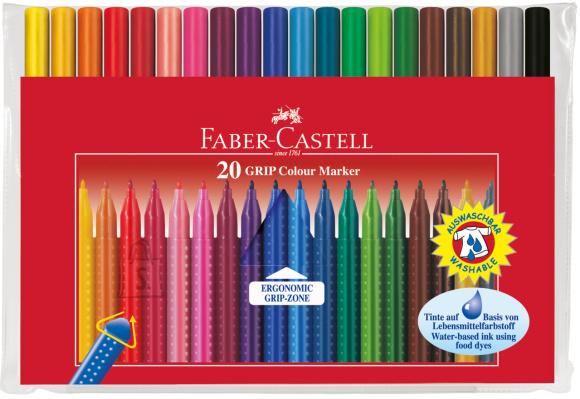 Faber-Castell Viltpliiatsid Faber-Castell Grip kolmekandilised 20-värvi