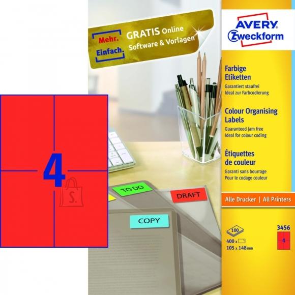 Avery Zweckform Etiketid Zweckform 3456 105x148 mm A4/100L punane (P)