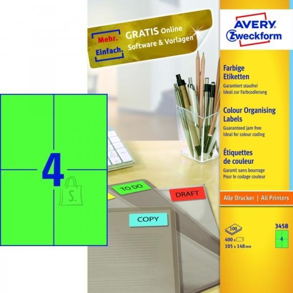 Avery Zweckform Etiketid Zweckform 3458 105x148 mm A4/100L roheline (P)