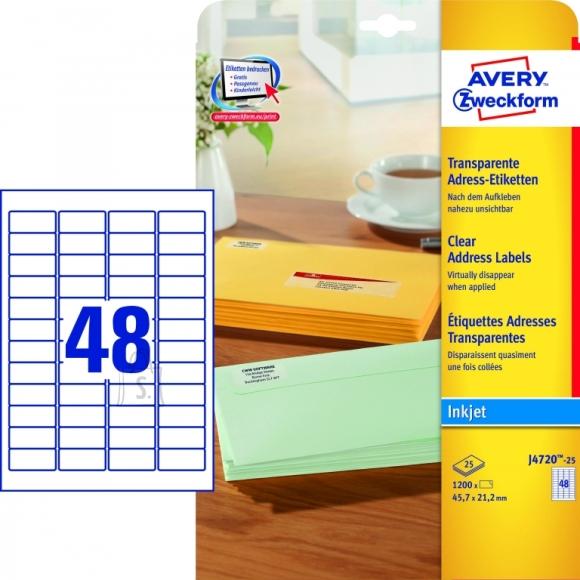 Avery Zweckform Etiketid Zweckform J4720-25 45,7x21,2mm A4 läbipaistev tindiprinterile