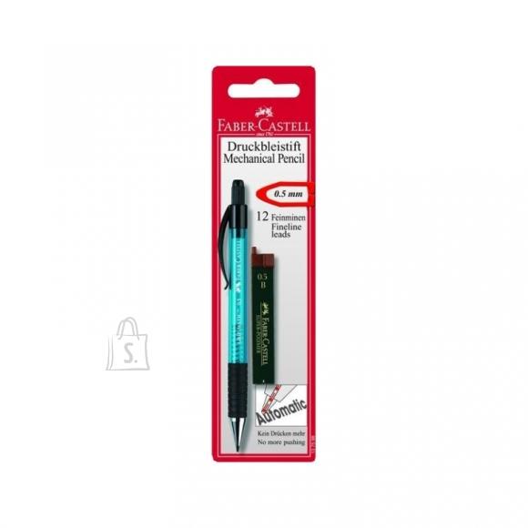 Faber-Castell Mehaaniline harilik pliiats Faber-Castell Grip-Matic, erivärvid+söed 0,5mm blistris