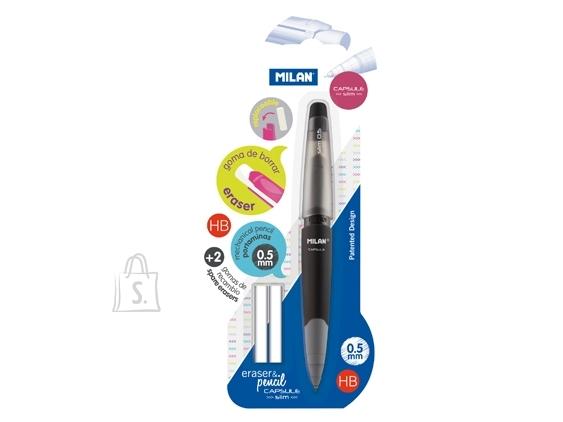 Milan Mehaaniline harilik pliiats Milan Capsule Slim HB 0.5mm + 2 kustukummi blistris