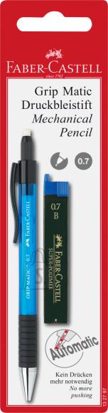 Faber-Castell Mehaaniline harilik pliiats Faber-Castell Grip-Matic, erivärvid+söed 0,7mm blistris