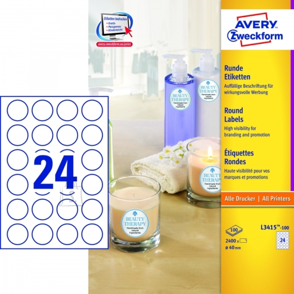 Avery Zweckform Etiketid Zweckform L3415-100 ring 40mm A4/100L valge