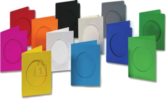 Folia Kaart passpartuuga Folia 220g/m² ovaal 3 kaarti+3 ümbrikut must