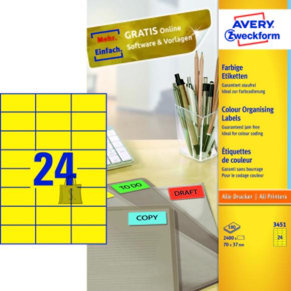 Avery Zweckform Etiketid Zweckform 3451 70x37mm A4/100L kollane (P)