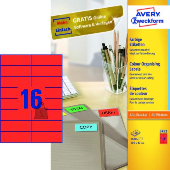Avery Zweckform Etiketid Zweckform 3452 105x37mm A4/100L punane (P)