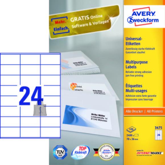 Avery Zweckform Etiketid Zweckform 3475 70x36mm A4/100L