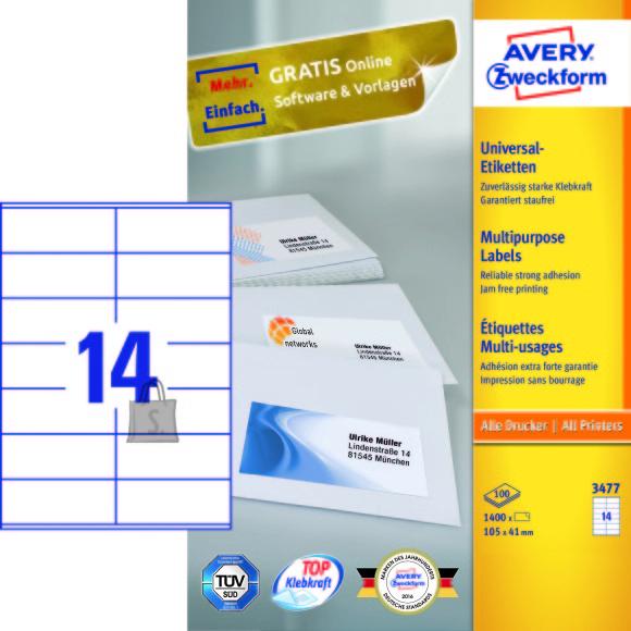 Avery Zweckform Etiketid Zweckform 3477 105x41mm A4/100L