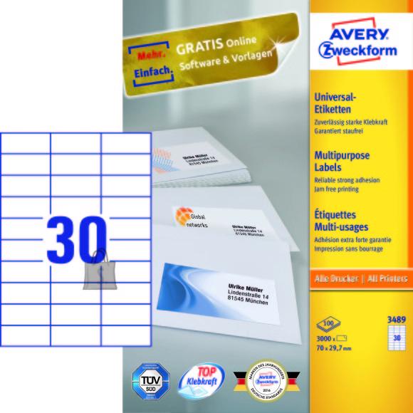 Avery Zweckform Etiketid Zweckform 3489 70x29,7mm A4/100L