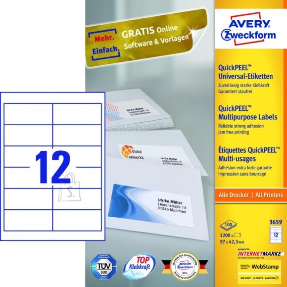 Avery Zweckform Etiketid Zweckform 3659 97x42,3mm A4/100L